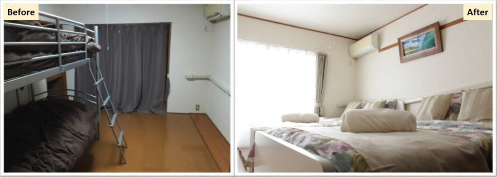 airbnb 弊社プロデュース前後でお部屋の状態がこのように変わります